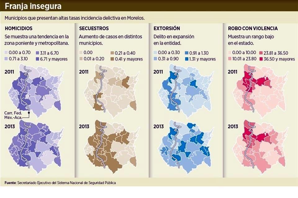 El Atlas de la Seguridad y Violencia de Morelos está basado en datos del Inegi y del Secretariado Ejecutivo del Sistema Nacional de Seguridad Pública. Foto: Especial