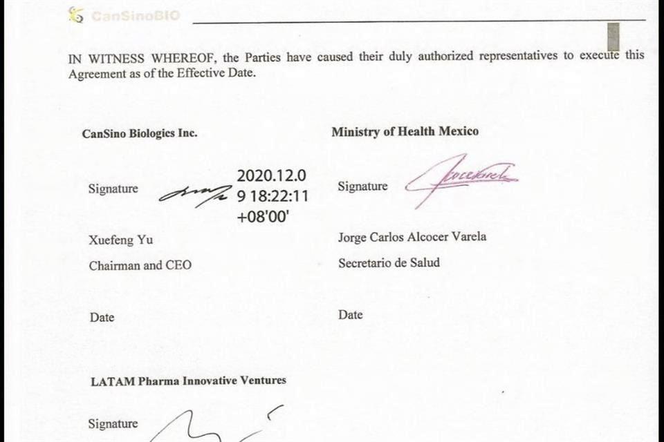 Firma México precompra de 35 millones de vacunas de CanSino