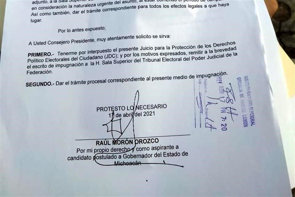Impugna Morón ante TEPJF cancelación de registro