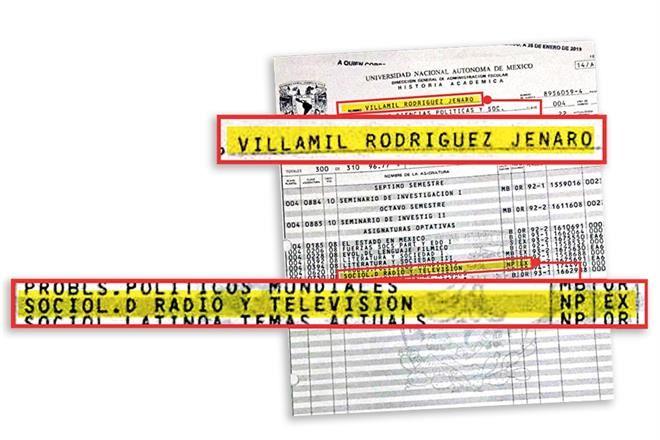 boleta de calificación de Jenaro Villamil